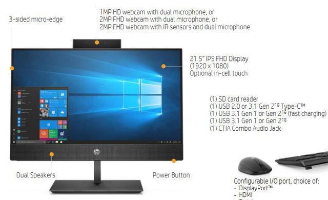 Máy tính tất cả trong một siêu tiện dụng HP PRO ONE 400 G5 và 600 G5